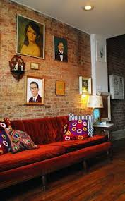 rusty brick velvet tufted with a brink wall i u0027m in heaven