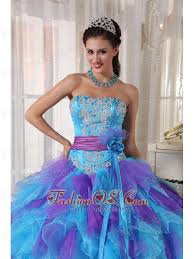 quinceanera dresses 2014 blue and purple quinceanera dress strapless organza appliques