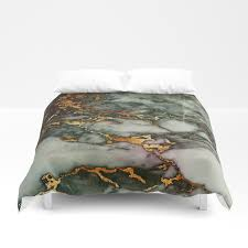 grey green marble glitter gold metallic foil style duvet cover by