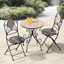 Mosaic Bistro Table Mosaic Bistro Table Set Round Stone Tiles Top With 2 Patio Outdoor