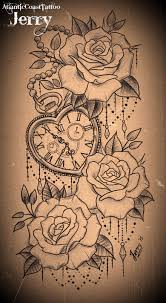 heart shaped pocket watch and roses tattoo design tattoos