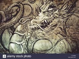 japanese dragon head tattoo sketch handmade design over vintage