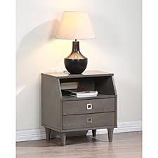 Stainless Steel Nightstand Amazon Com Marley Two Drawer Light Charcoal Grey Finished