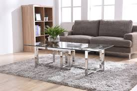 valiant modern glass u0026 stainless steel coffee table
