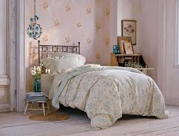 bedroom girly simply shabby chic bedding with night stand and