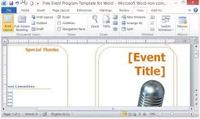 word layout templates free download free event program template for word