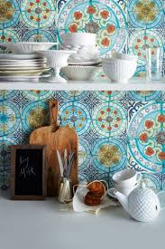 Kitchen Wallpaper Ideas Uk Kitchen Blue Pattern Moroccan Backsplash Tile Ceramic Material