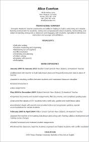 Teaching Resume Template Assistant Resume Thebridgesummit Co