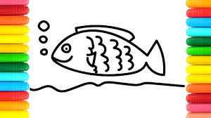 coloring pages colorful rainbow fish drawing art colors for kids