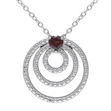 shaped pendant necklace images 3 ct t w heart shaped garnet triple circle heart pendant