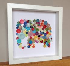 button art elephant elephant art christmas gift idea