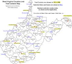 virginia county map with cities wv counties and test centers map