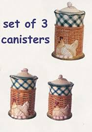 amazon com french country chicken kitchen canister set home decor