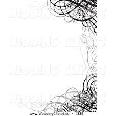 wedding invitations borders vector marriage clipart of a pretty grayscale ornate swirl wedding