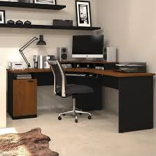 Corner Computer Desk Bestar Hton Wood Home Office Corner Computer Desk In Tuscany