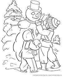 winter coloring kids building snowman coloring