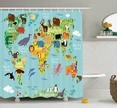 Map Fabric Amazon Com Wanderlust Shower Curtain Decor By Ambesonne Animal