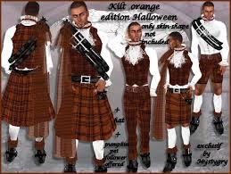 Kilt Halloween Costume Marketplace Kilt Plaid Orange Men Clan Boots Pant