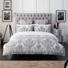 white grey cotton foliage kingsize duvet cover set brandalley