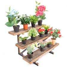 3 tier bronze etagere straight or corner plant pot garden display