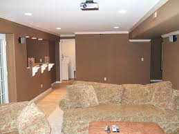 decorations pretty small living room with brown wall paint also