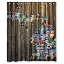 Of Michigan Curtains Michigan Counties State License Plate Map Shower Curtains 60 By