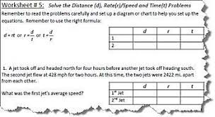 distance rate and time worksheets with answers