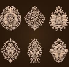 ornamental floral damask elements vector material 02 vector