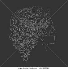 vector portrait beautiful woman curling hair stock vector