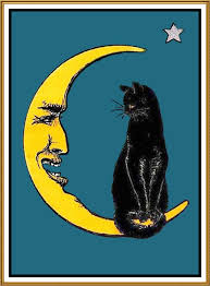 black cat sitting on crescent moon counted cross stitch