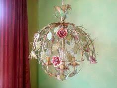porcelain chandelier roses italian tole blue roses chandelier my flea market store