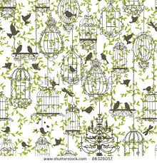 wallpaper with birds vintage birds birdcages collection pattern wallpaper stock vector