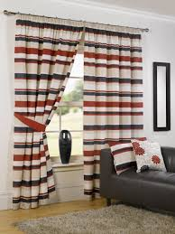 grey and white vertical striped curtains