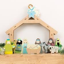wooden nativity set children s wooden nativity set 11 the catholic company