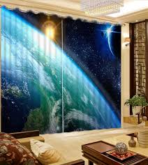 Outer Space Window Curtains by Cool Curtains Photo Space View Creative Curtain Customize Curtains