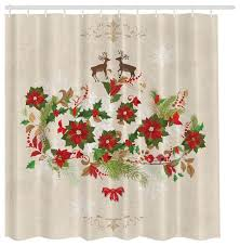 poinsettia reindeer fabric shower curtain beige
