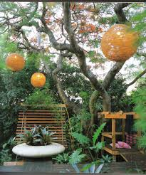 impressive small garden design with hanging pendants cncloans