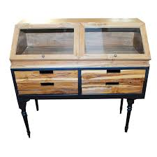 rustic wood display cabinet rustic wood glass and steel display cabinet ebth