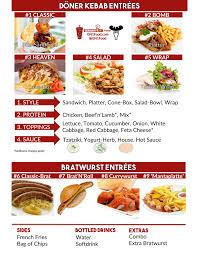 german cuisine menu germany s no 1 food truck menu doener kebab bratwurst