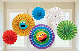 hanging paper fans sesame 1st birthday paper fan decorations parties4kids