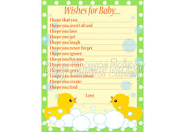 rubber duck baby shower game wishes for baby card rubber