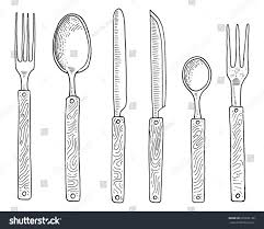 kitchen forks and knives dining snack fork oysters ice cream stock vector 676626136