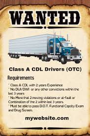 class a cdl drivers wanted template postermywall