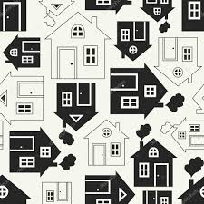 House Silhouette by Home Sweet Home House Silhouette And Outline Seamless Pattern