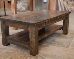 rustic solid wood coffee table rustic coffee table etsy