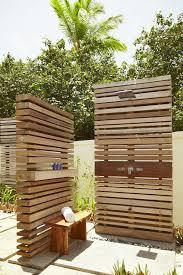 outdoor shower summer bathroom wooden panels wall design