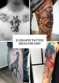 picture of giraffe tattoo design ideas for men