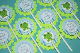 frog themed baby shower 12 cupcake toppers boys baby shower or birthday frog theme