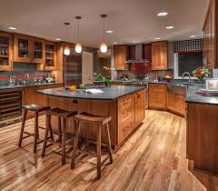 Natural Cherry Shaker Kitchen Cabinets Wood Floor Pictures Kitchen Traditional With Red Tile Stove