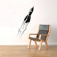 space rocket wall decal vinyl stickers spaceship home art zoom